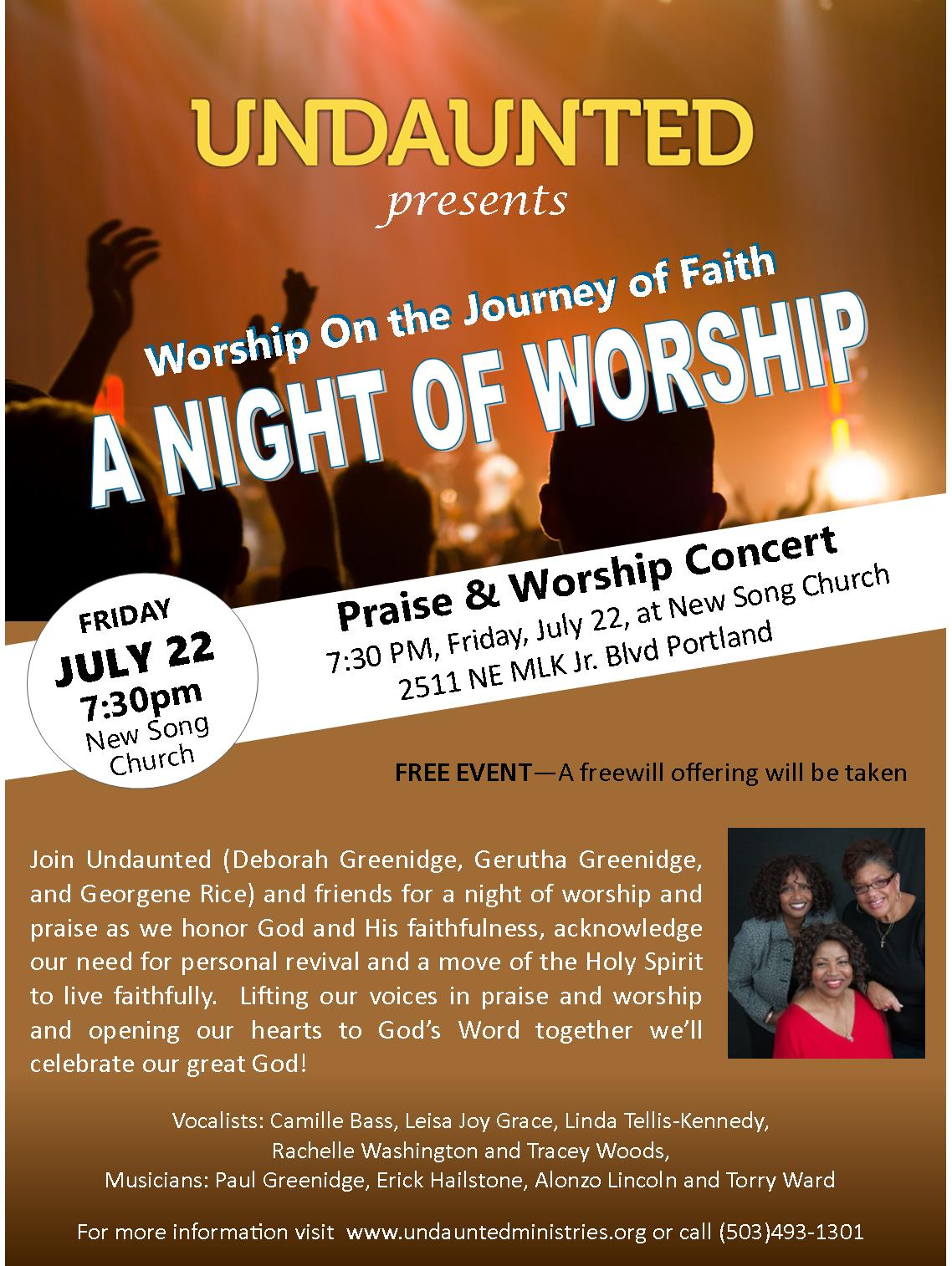 Undaunted – A Night of Worship – FREE EVENT – New Song